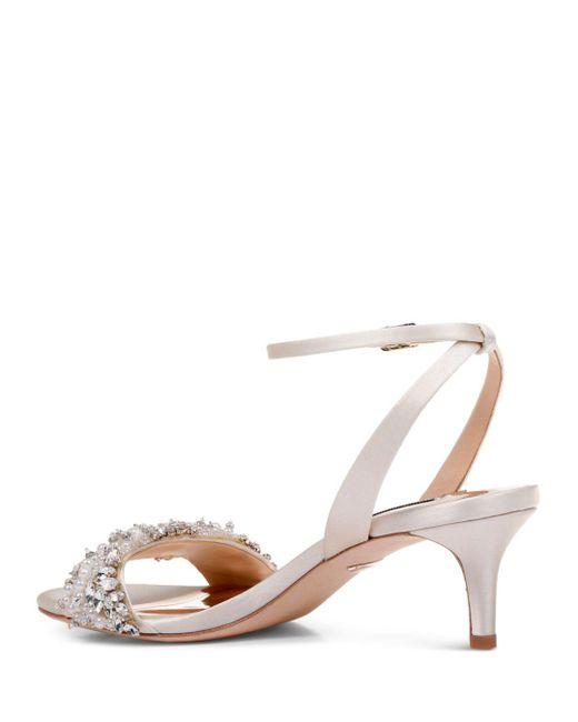 6545c56d302a ... Badgley Mischka - White Fiona Embellished Satin Kitten-heel Sandals -  Lyst ...