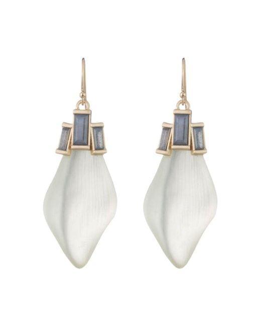 Alexis Bittar - White Baguette Drop Earrings - Lyst