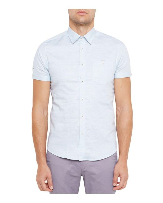 Ted Baker | Green Textured Linen Slim Fit Button-down Shirt for Men | Lyst