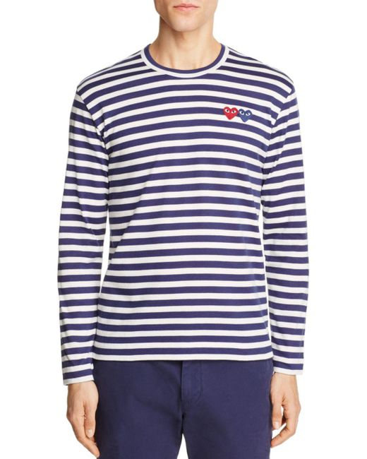 Play Comme des Garçons - Blue Double-heart Long Sleeve Tee for Men - Lyst