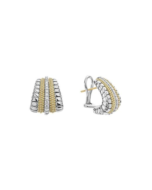 Lagos - Metallic 18k Gold And Sterling Silver Diamond Lux Graduated Huggie Hoop Earrings - Lyst