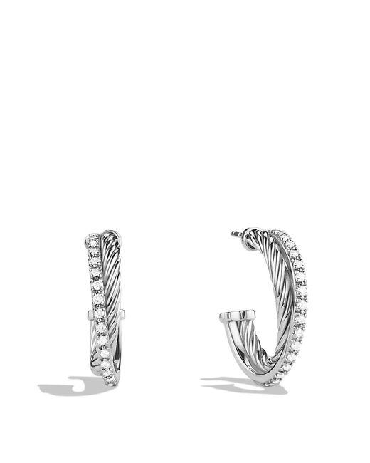 David Yurman | Metallic Crossover Small Hoop Earrings With Diamonds | Lyst