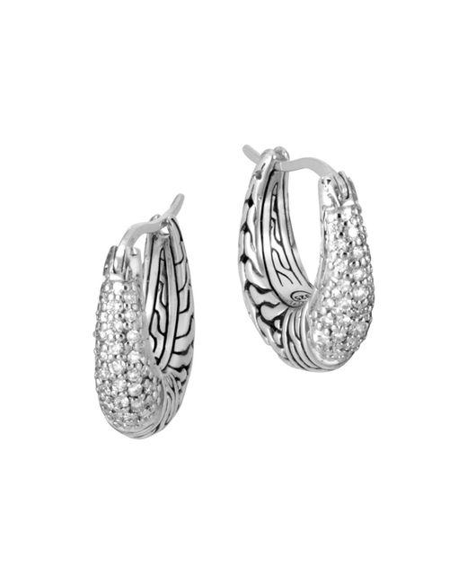 John Hardy - Metallic Sterling Silver Classic Chain Pavé Diamond Hoop Earrings - Lyst