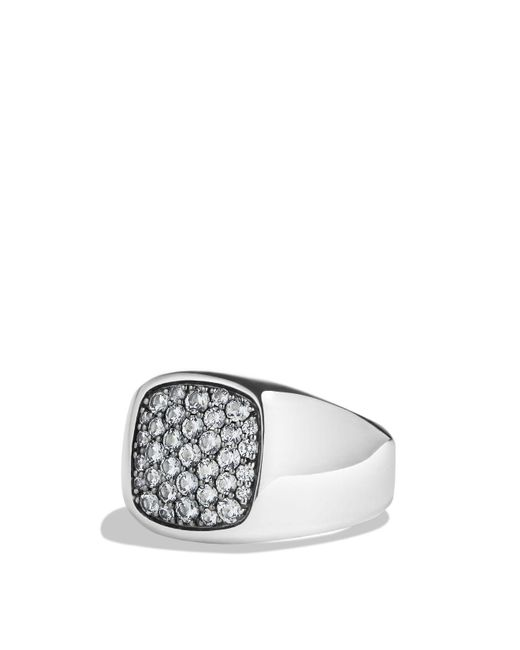 David Yurman | Pavé Signet Ring With Gray Sapphire In Silver for Men | Lyst