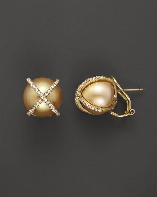 Tara Pearls | Metallic X's & O's 18k Yellow Gold Diamond And Cultured Gold South Sea Pearl Earrings, 14mm | Lyst