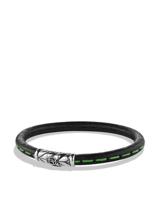 David Yurman - Leather Bracelet In Green - Lyst