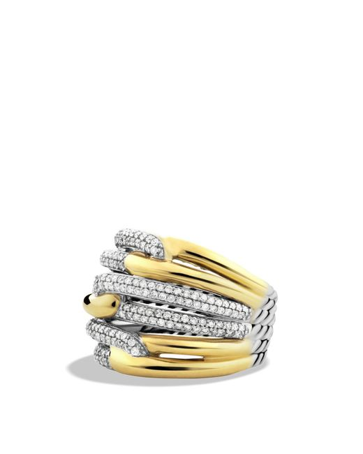 David Yurman | Metallic Labyrinth Triple-loop Ring With Diamonds | Lyst