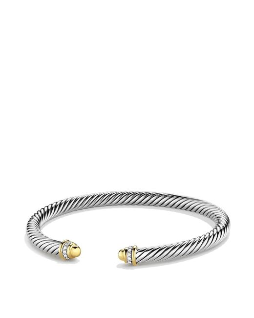 David Yurman | Metallic Cable Classics Bracelet With Gold Domes & Diamonds | Lyst