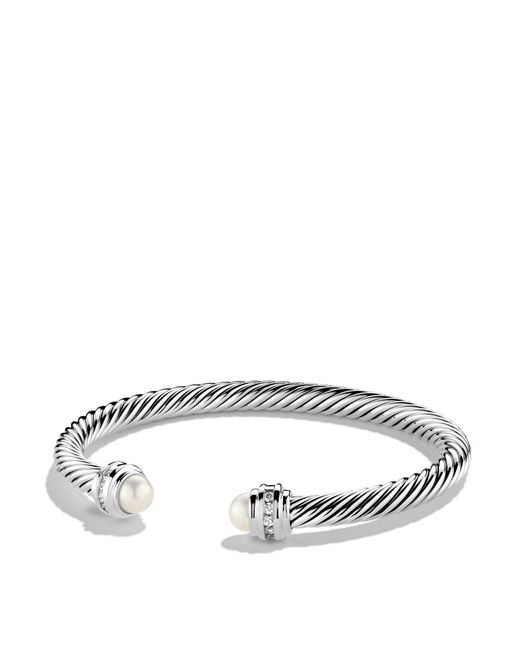 David Yurman | Metallic Cable Classics Bracelet With Pearl & Diamonds | Lyst