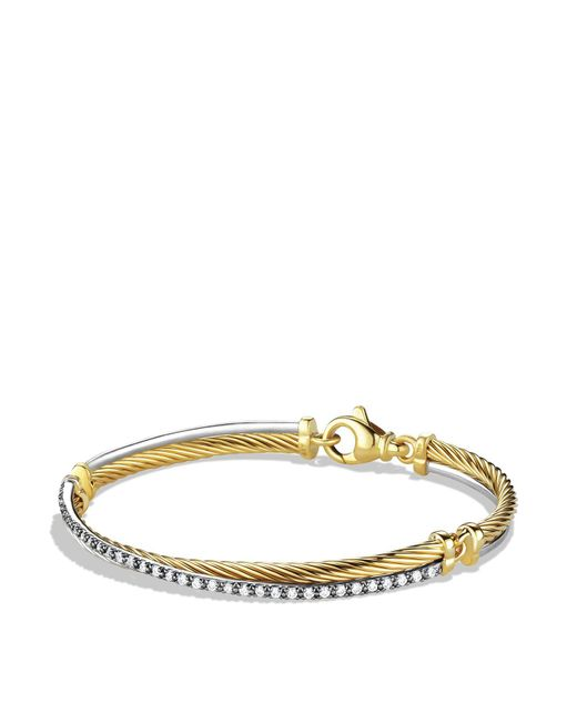 David Yurman | Yellow Crossover Bracelet With Gold And Diamonds | Lyst