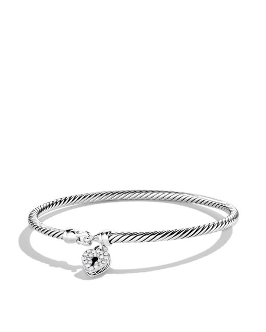 David Yurman | Metallic Cable Collectibles Heart Lock Bracelet With Diamonds | Lyst