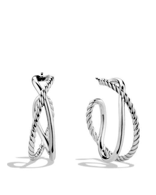 David Yurman | Metallic Crossover Hoop Earrings | Lyst