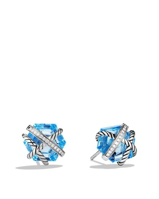David Yurman | Cable Wrap Earrings With Blue Topaz And Diamonds | Lyst