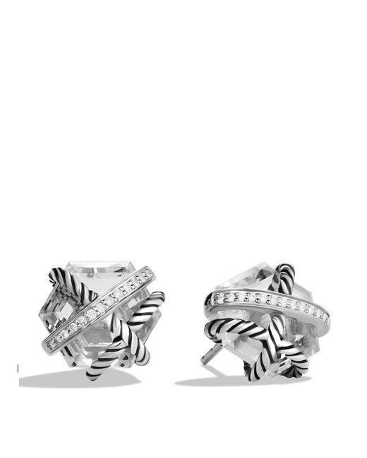 David Yurman   Metallic Cable Wrap Earrings With Crystal And Diamonds   Lyst