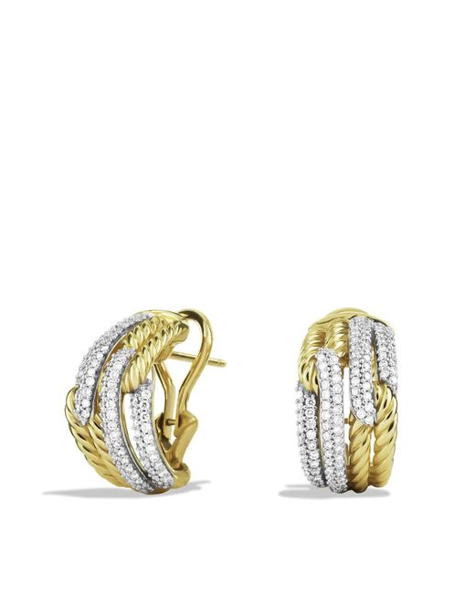 David Yurman | Yellow Labyrinth Double-loop Earrings With Diamonds | Lyst