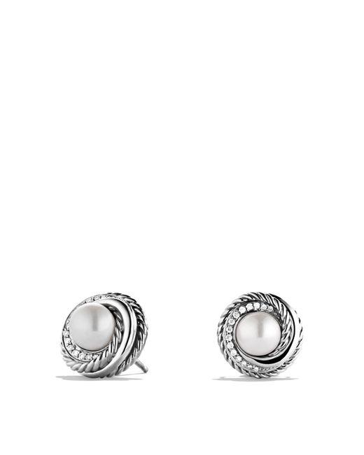 David Yurman | Metallic Pearl Crossover Earrings With Diamonds | Lyst