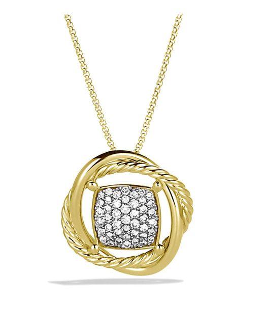 David Yurman | Metallic Infinity Pendant With Diamonds In Gold On Chain | Lyst