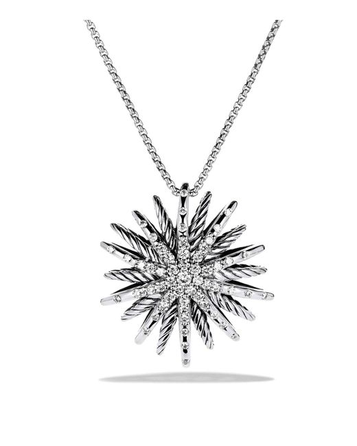 David Yurman | Metallic Starburst Medium Pendant With Diamonds On Chain | Lyst