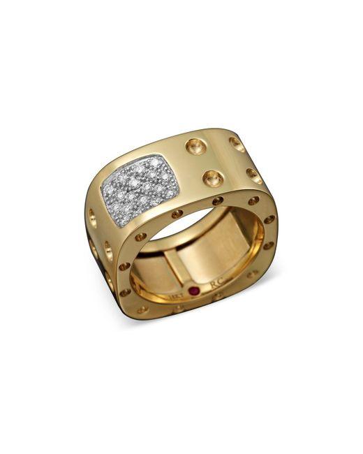 Roberto Coin | Metallic 18k Yellow Gold Pois Moi Diamond Double Row Square Ring | Lyst