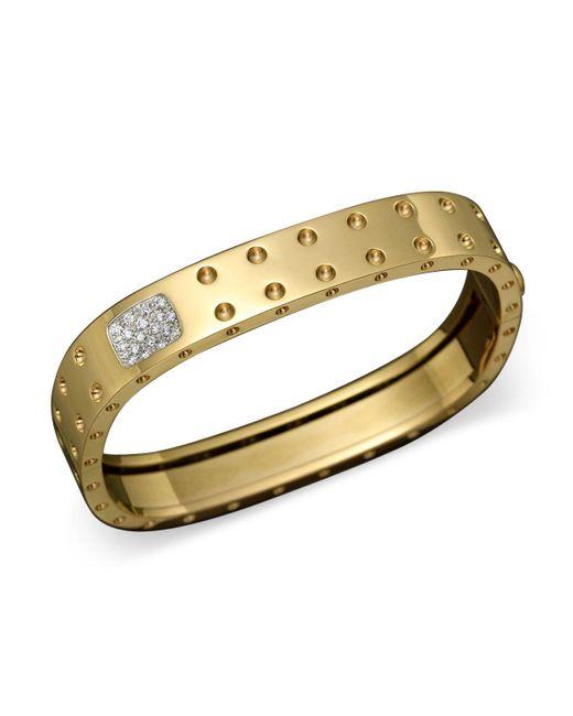 Roberto Coin | Metallic 18k Yellow Gold Pois Moi Double Row Diamond Bangle | Lyst