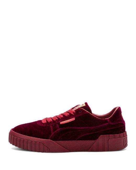 aaff27d0dfc ... Lyst PUMA - Red Women s Cali Velvet Low-top Sneakers ...