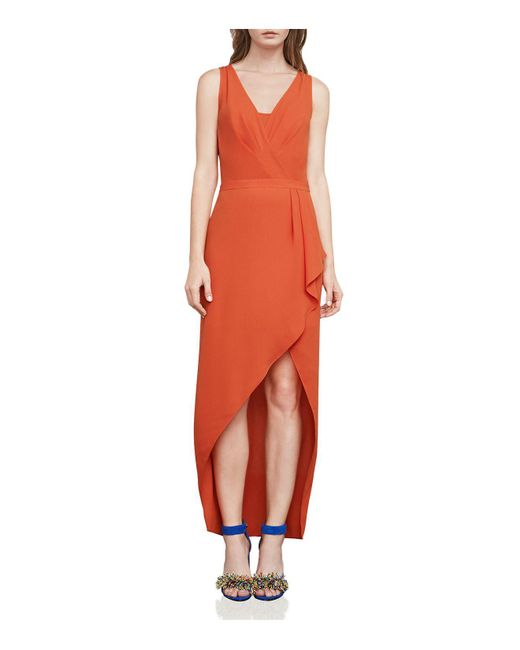 BCBGMAXAZRIA | Orange Tobyn Asymmetric Faux-wrap Dress | Lyst