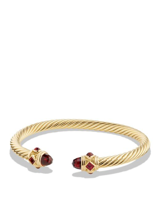 David Yurman - Red Renaissance Bracelet With Garnet In 18k Gold - Lyst