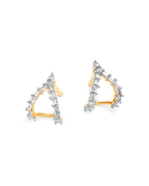 Adina Reyter - Metallic 14k Yellow Gold Baguette Diamond Double J Hoop Earrings - Lyst