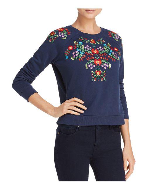Rebecca Minkoff - Blue Jennings Floral-embroidered Sweatshirt - Lyst