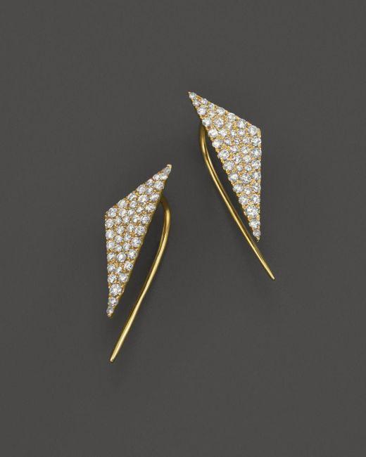 Meira T - Metallic 14k Yellow Gold Diamond Triangle Ear Cuffs - Lyst