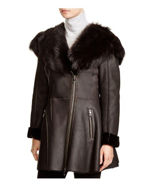 Maximilian | Gray Maximilian Shearling Coat With Toscana Shearling-trimmed Hood | Lyst