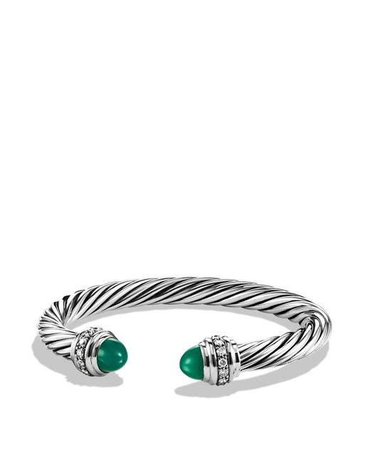 David Yurman | Cable Classics Bracelet With Green Onyx & Diamonds | Lyst