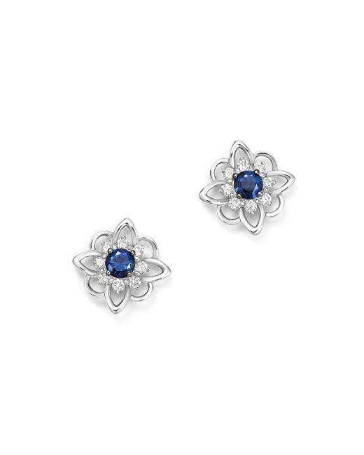 KC Designs - Multicolor 14k White Gold Floral Diamond & Sapphire Stud Earrings - Lyst