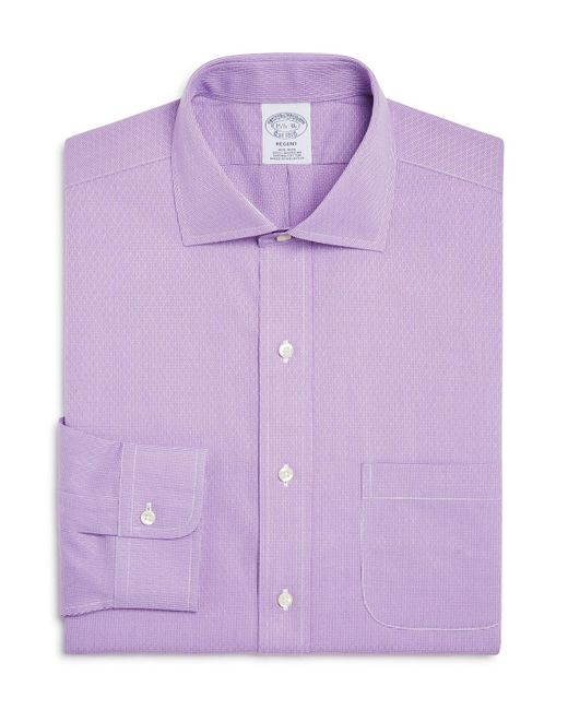 Brooks Brothers | Purple Regent Diamond Weave Micro Houndstooth Classic Fit Dress Shirt for Men | Lyst