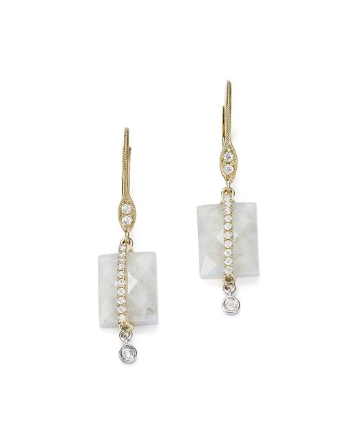 Meira T | 14k White And Yellow Gold Rainbow Moonstone And Diamond Square Drop Earrings | Lyst
