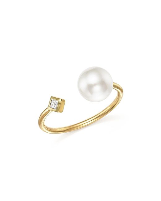Zoe Chicco | Metallic 14k Yellow Gold Open Ring With Cultured Freshwater Pearl And Diamond | Lyst