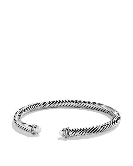 David Yurman - White Cable Classics Bracelet With Pearls & Diamonds - Lyst
