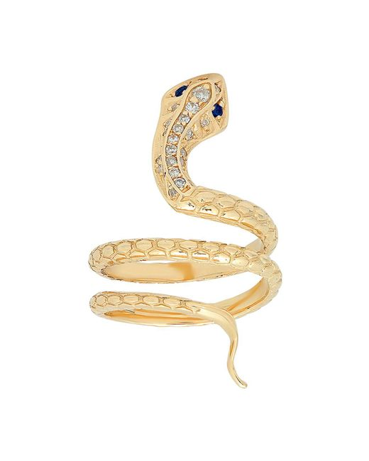 ICONERY | Metallic X Stone Fox Bride 14k Yellow Gold Snake Ring With Diamonds | Lyst