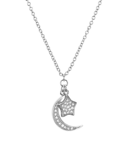 Aqua Metallic Sterling Silver Star & Moon Pendant Necklace