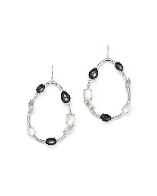 Ippolita - Metallic Hematite Doublet And Clear Quartz Open Drop Earrings In Piazza - Lyst