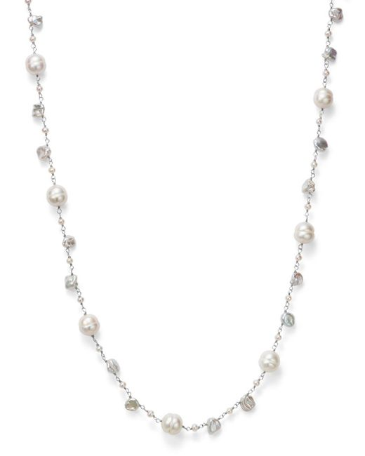 "Bloomingdale's - Cultured Freshwater Pearl And Keshi Pearl Necklace In 14k White Gold, 18"" - Lyst"