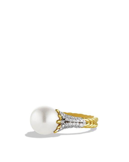 David Yurman - Metallic Starburst Pearl Ring With Diamonds In Gold - Lyst