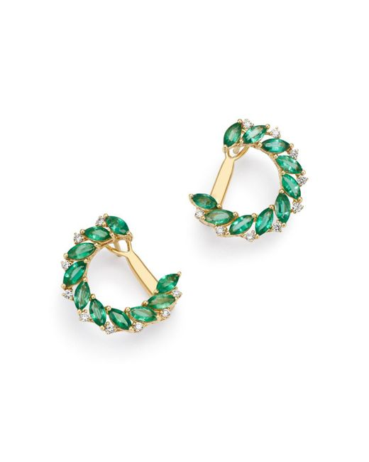 Bloomingdale's - Metallic Emerald Marquis & Diamond Front-to-back Earrings In 18k Yellow Gold - Lyst
