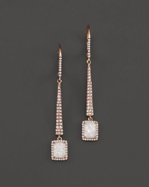 Meira T - Pink 14k Rose Gold Druzy Elongated Earrings With Diamonds - Lyst