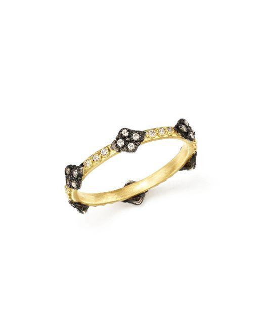 Armenta | Metallic Blackened Sterling Silver & 18k Yellow Gold Old World Cravelli Cross Diamond Stacking Ring | Lyst