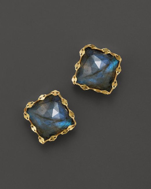 Lana Jewelry | 14k Yellow Gold Ultra Stud Earrings With Labradorite | Lyst