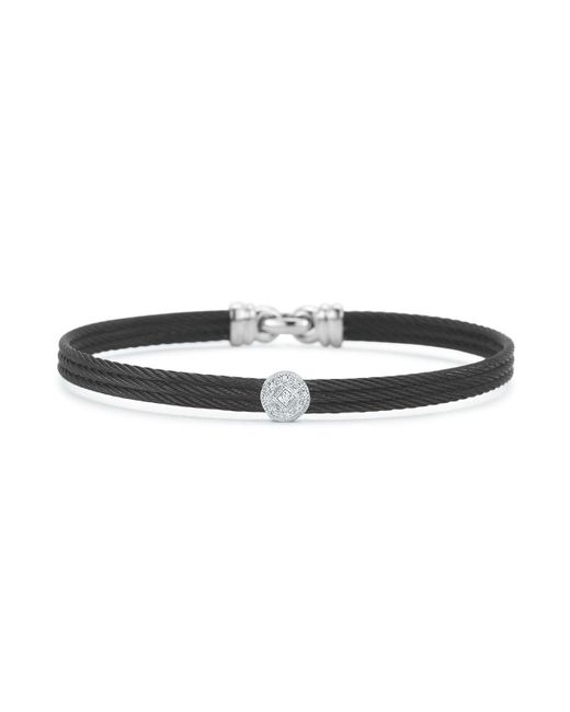 Alor | Diamond Black Cable Bangle | Lyst