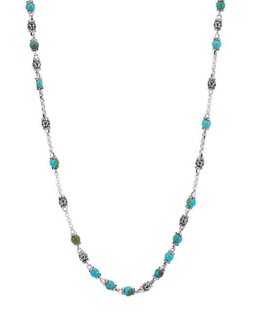 "John Hardy - Metallic Sterling Silver Classic Chain Turquoise With Black Matrix Beaded Necklace, 28"" - Lyst"