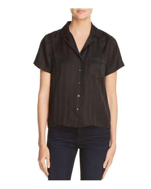 T By Alexander Wang - Black Striped Silk Jacquard Shirt - Lyst