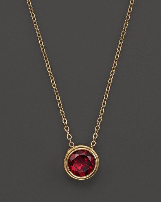 "Bloomingdale's - Metallic Rhodolite Garnet Bezel Set Pendant Necklace In 14k Yellow Gold, 17"" - Lyst"